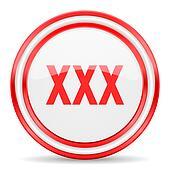 xxx red white glossy web icon