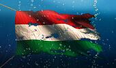 Hungary Under Water Sea Flag National Torn Bubble 3D