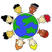 Multicultural Kid Faces United Around Earth Globe Illustration jpeg