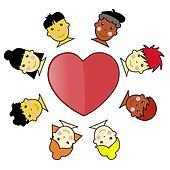 Multicultural Kid Faces United Around Heart Illustration jpeg