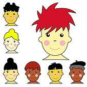Set of cute multicultural boy and girl faces with different hairstyles and skin colors.