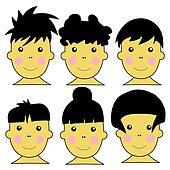6 Cute Asian Kids jpeg Illustration
