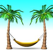 Hammock On Palm Trees With Blue