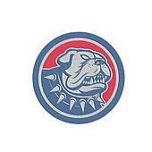 Metallic Angry Bulldog Dog Mongrel Head Mascot