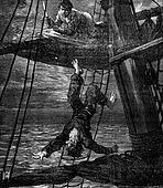 Bandits of the sea pushed abruptly, vintage engraving.