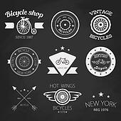Set of vintage bike shop logos. White logo.