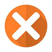 cancel orange flat icon x sign