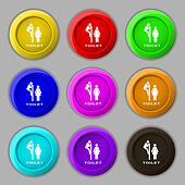 toilet icon sign. symbol on nine round colourful buttons.
