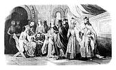 Costumes of the nobility during the reign of John Lackland, vintage engraving.