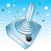 Silver joystick gamers award vector illustration
