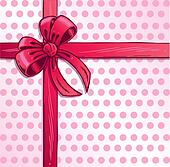 Pink ribbon and bow vector illustration