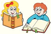Reading boy and girl