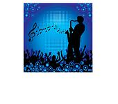 A sax player performs