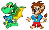 Cartoon dragon and lion