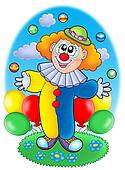 Juggling cartoon clown with balloons