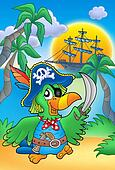 Pirate parrot with boat