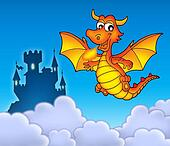 Red dragon with castle