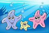 Starfish family playing with bubbles