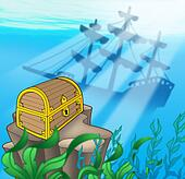 Treasure chest with shipwreck