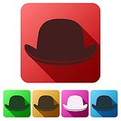 Set Flat icons of black gentleman bowler hat