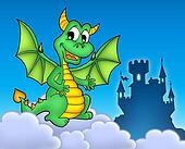 Green dragon with castle