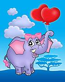 Elephant girl with heart balloons on blue sky