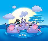 Two elephants with moon