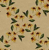 yellow rudbeckia rhomb seamless pattern on rough brown paper