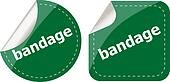 bandage word on stickers button set, label, business concept