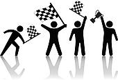 Symbol People Wave Checkered Flag Hold Victory Trophy