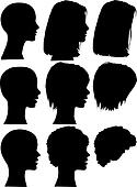 Simple Silhouette People Portraits Heads Faces Set