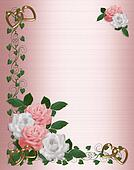 Roses Border pink white wedding invitation