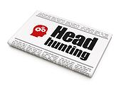 Finance concept: newspaper headline Head Hunting and Head With Gears icon on White background, 3d render