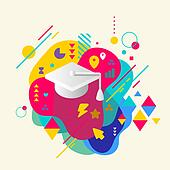 Academic hat on abstract colorful spotted background with different elements. Flat design.