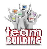 Team Building People Employees Behind 3d Words in Training Exerc