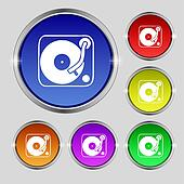 Gramophone, vinyl icon sign. Round symbol on bright colourful buttons.