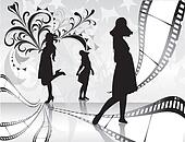 Film rolls with women silhouette and floral background