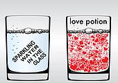 A glass of sparkling water and love potion water
