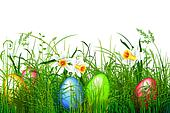 Green grass with easter eggs