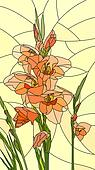 Mosaic of flowers red gladiolus.