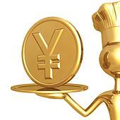 Golden Chef Serving A Yen Coin