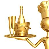 Golden Chef Serving Champagne