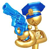 Golden Police Officer With Revolver