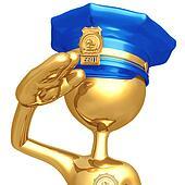 Golden Police Officer Waving