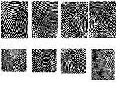 8 Fingerpinrt Crops  - 8 Separate vector illustrations