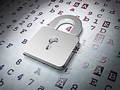 Data concept:  Closed Padlock on Hexadecimal Code background