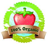 An organic label with a strawberry