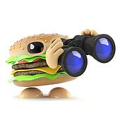 3d Burger with binoculars