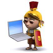 3d Roman soldier with laptop