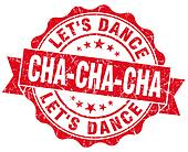 cha-cha-cha red grunge seal isolated on white